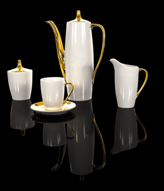 Cmielow - 1790 Glamour II  - Kaffeeservice 6/15 in Weiß/ Gold