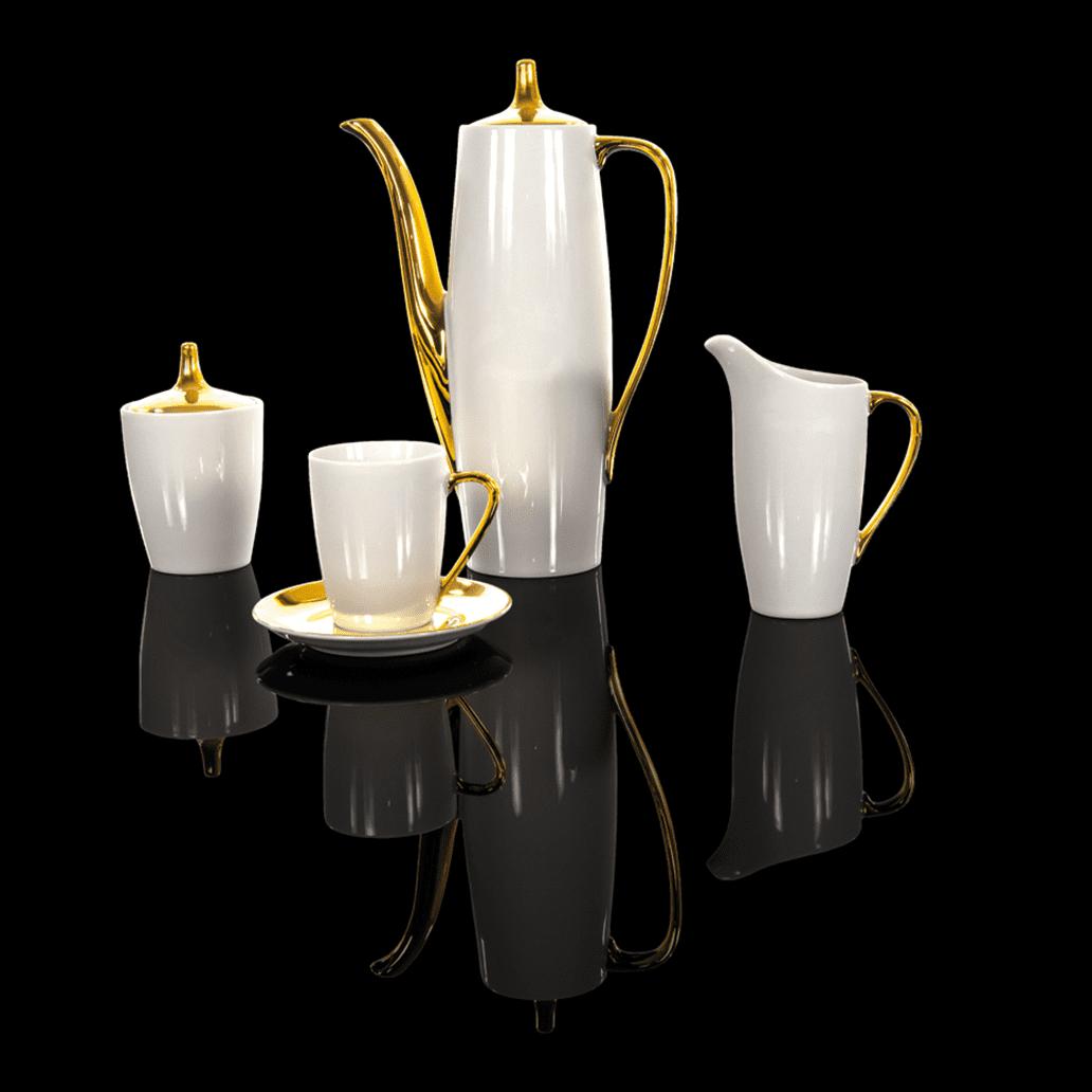 Cmielow - 1790 Kaffeeservice II für 6 Personen in Weiß mit Golddekoration