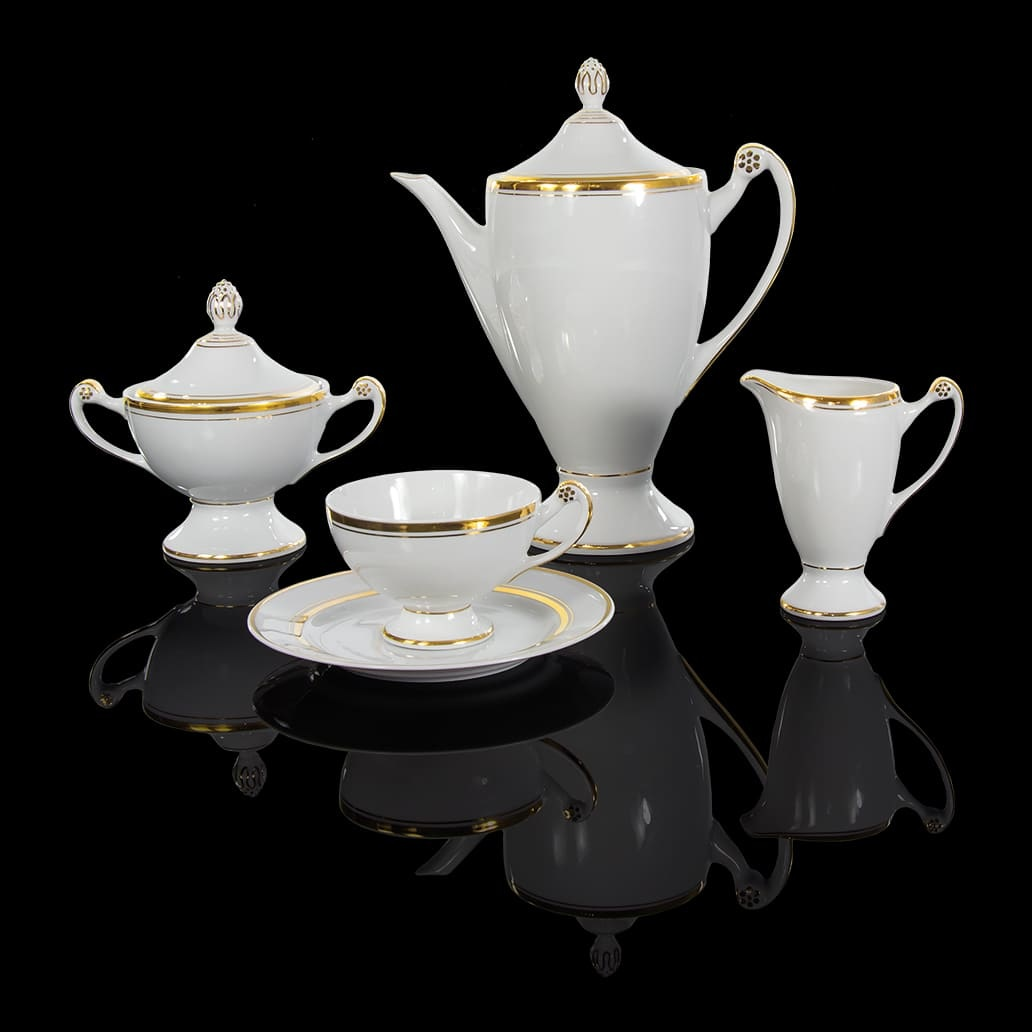 Cmielow - 1790 Glamor VIII - Tea set for 6 persons with double gold rim