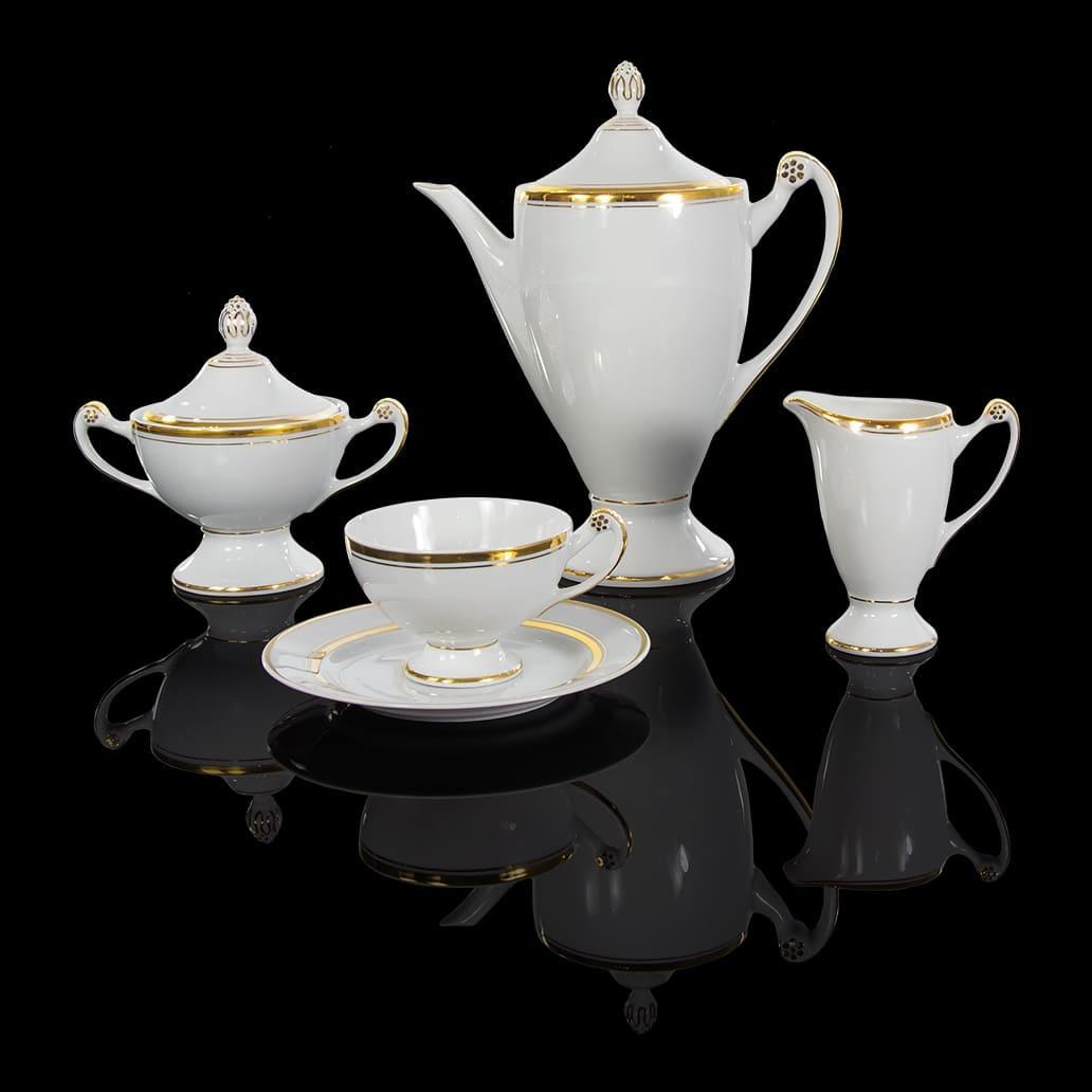 Cmielow - 1790 Glamour VIII - Teeservice für  6 Personen  mit doppeltem Goldrand