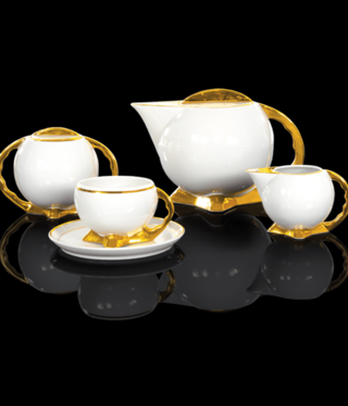 Cmielow - 1790 Glamor IX - coffee service 6/15 with gold rim / gold base