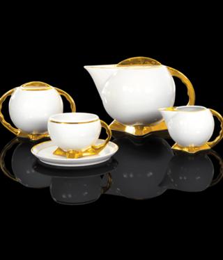 Cmielow - 1790 Glamour IX - Kaffeeservice 6/15 mit Goldrand / Goldfuß