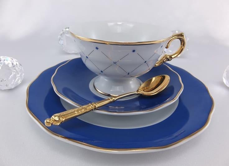 CRISTOFF -1831 Marie -  Josee - Porzellanteller in  Kobaltblau / Gold