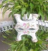 CHODZIEZ 1852 Marie -Rose  Kerzenständer mit Rosenmotiv & Goldrand