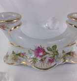 CHODZIEZ 1852 Marie -Rose candlestick with rose motif & gold rim