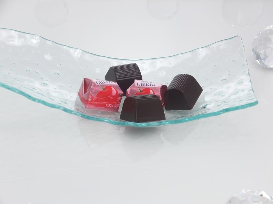 Tablett -S - formig - Bubbleglas  29 x 12 cm