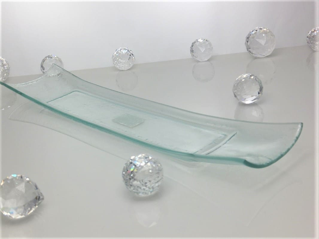 Tray narrow clear glass 47 x 9.7 cm