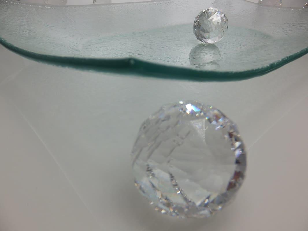 Tablett  aus Bubble Glas  43 x 29 cm