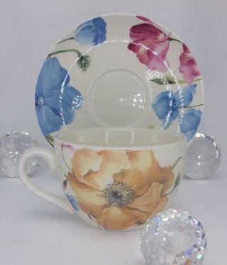 Kaffeetasse  mit Untertasse Wildrose