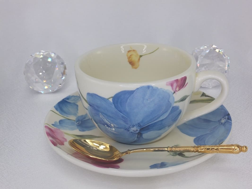 Coffee cup mug with saucer - wild rose