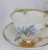 CARMANI - 1990 Teacups Set - Fine Bone China - Irises