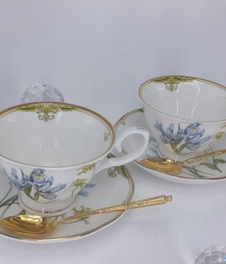 CARMANI - 1990 Teacups Set - Fine Bone China - Iris