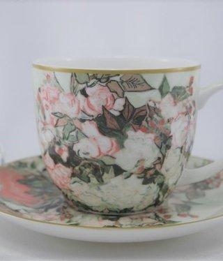 CARMANI - 1990 Van Gogh - Vase mit Rosen - Kaffeetasse & Untertasse