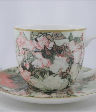 CARMANI - 1990 Van Gogh - Vase of Roses - Coffee Cup & Saucer