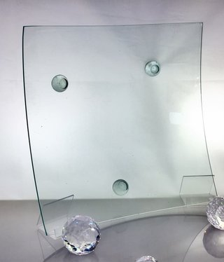 Glass plate point -4 - square - clear glass