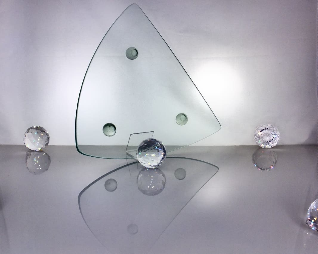 Decoration plate made of glass 29 x 29 cm