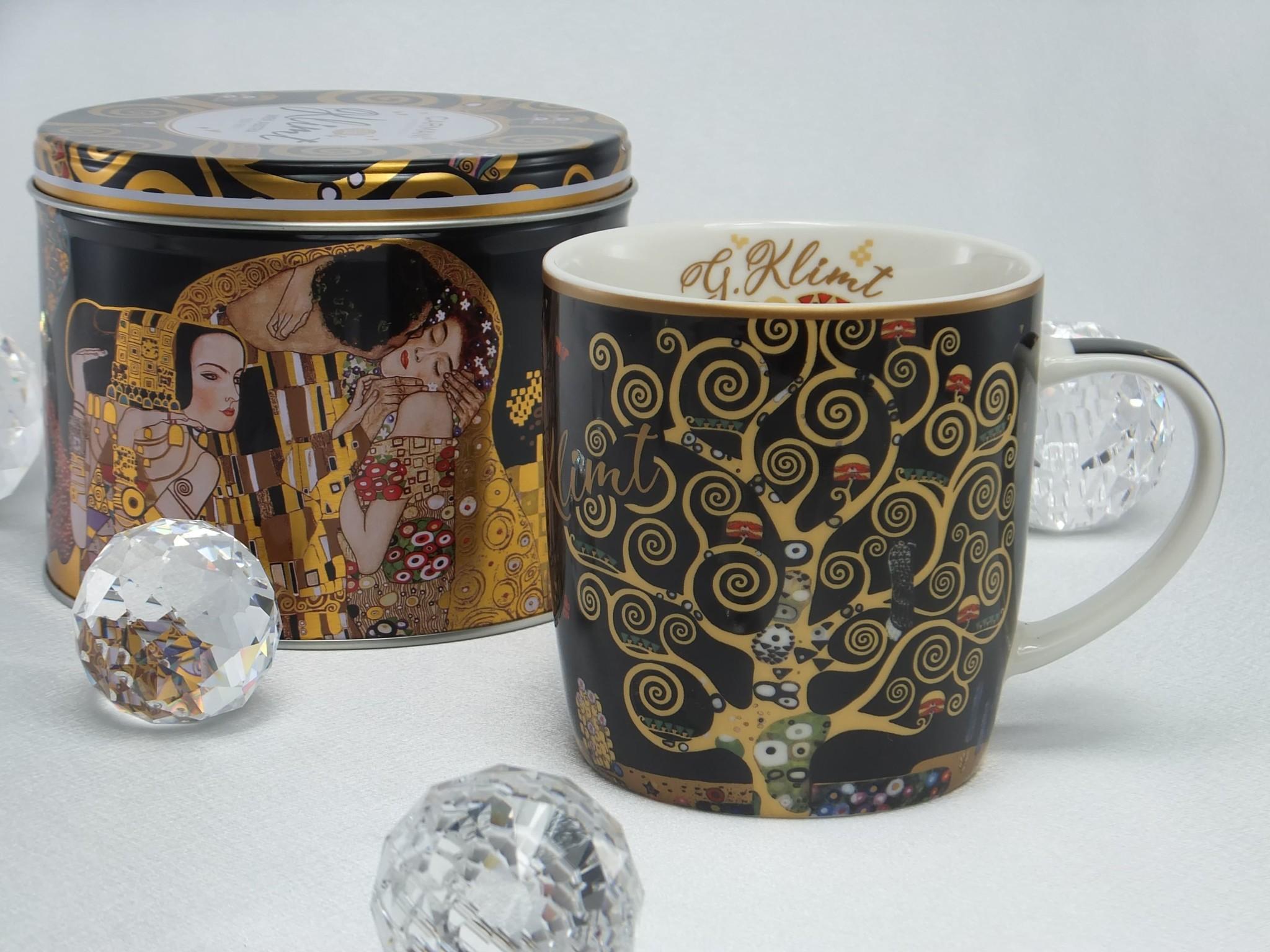 CARMANI - 1990 Gustav Klimt - Tree of Life - Porcelain Coffee Cup in a Metal Box