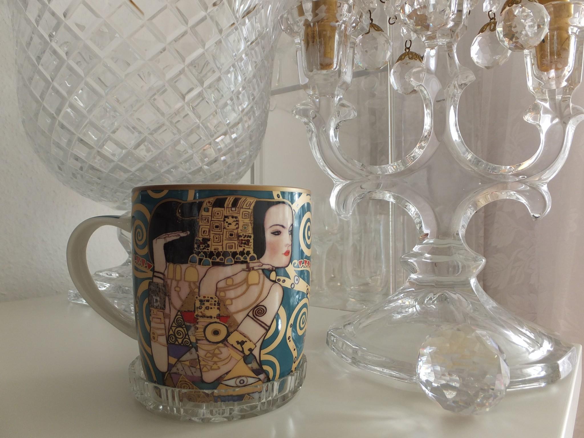 CARMANI - 1990 Gustav Klimt - Expectation - Porcelain coffee cup in a metal box