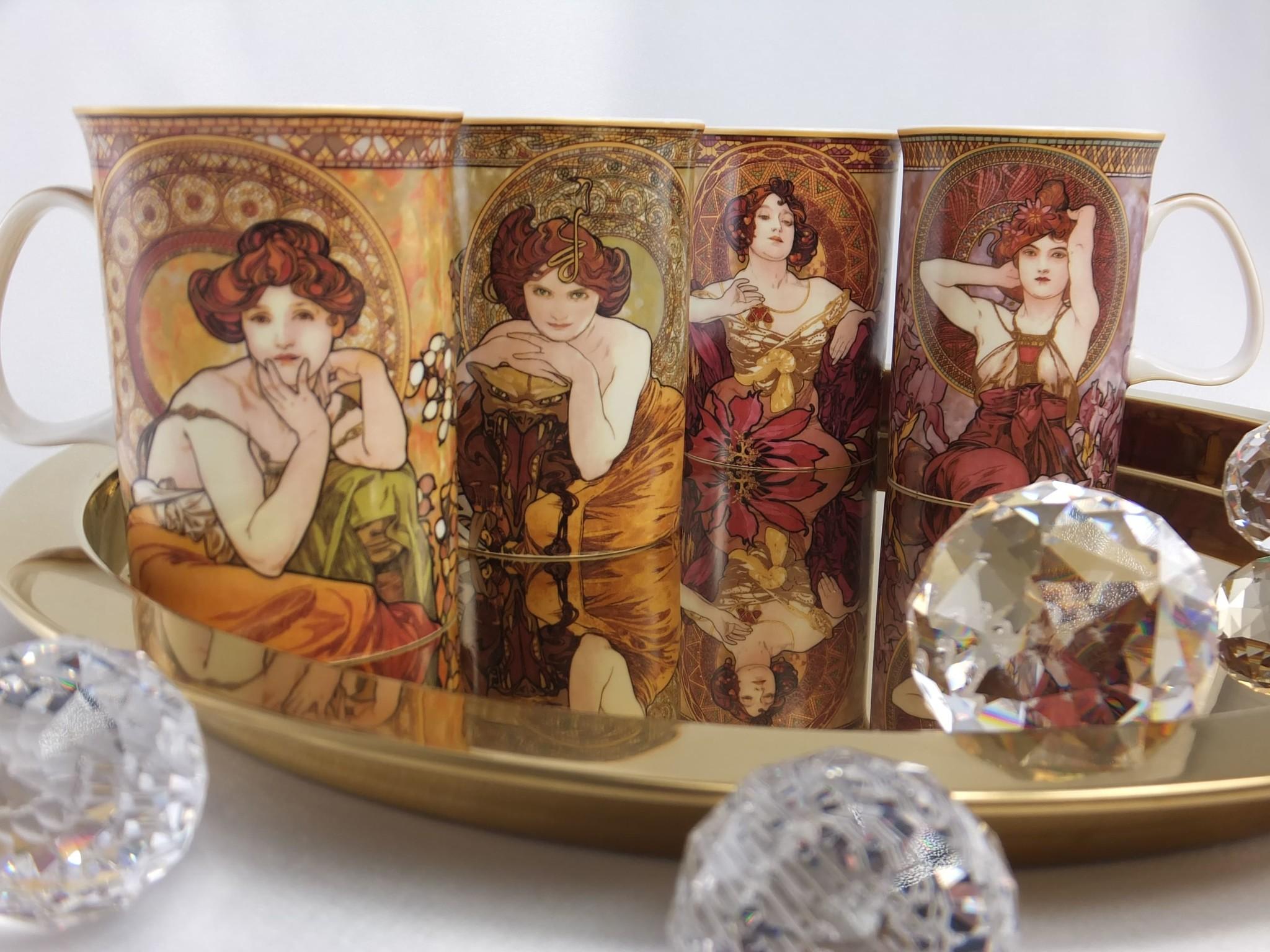 CARMANI - 1990 Alfons Mucha -  The Precious Stones  - Rubin - Kaffeetasse