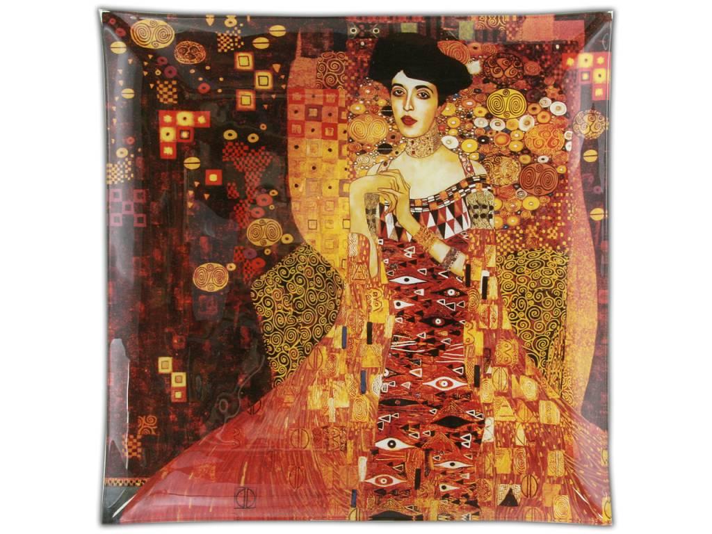 CARMANI - 1990 Gustav Klimt   Adele Bloch Bauer Glasteller -25 x 25 cm