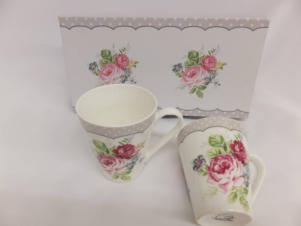 Dallas - stylish porcelain  coffee set  - Twin mugs with border