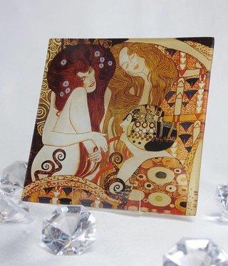 CARMANI - 1990 Gustav Klimt - Glasteller  - Beethovenfries -13x13cm