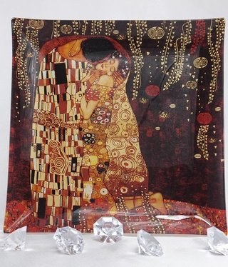 CARMANI - 1990 Gustav Klimt - Der Kuss - Glasteller - 25 x 25 cm