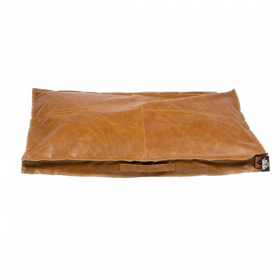 Duvo+ Leatherette Block Kussen Caramel Cognac