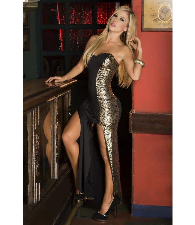 d26fa90721e478 Espiral Lingerie Lange strapless jurk zwart goud - ClassyWear