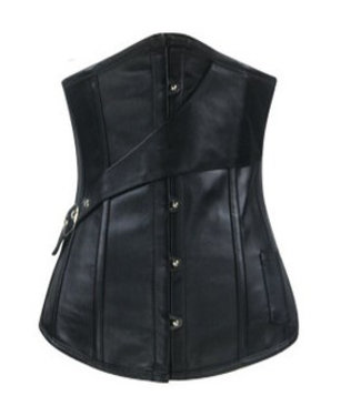 Zwart leatherlook underbust corset