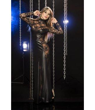 Zwarte lange jurk met open bewerkte details