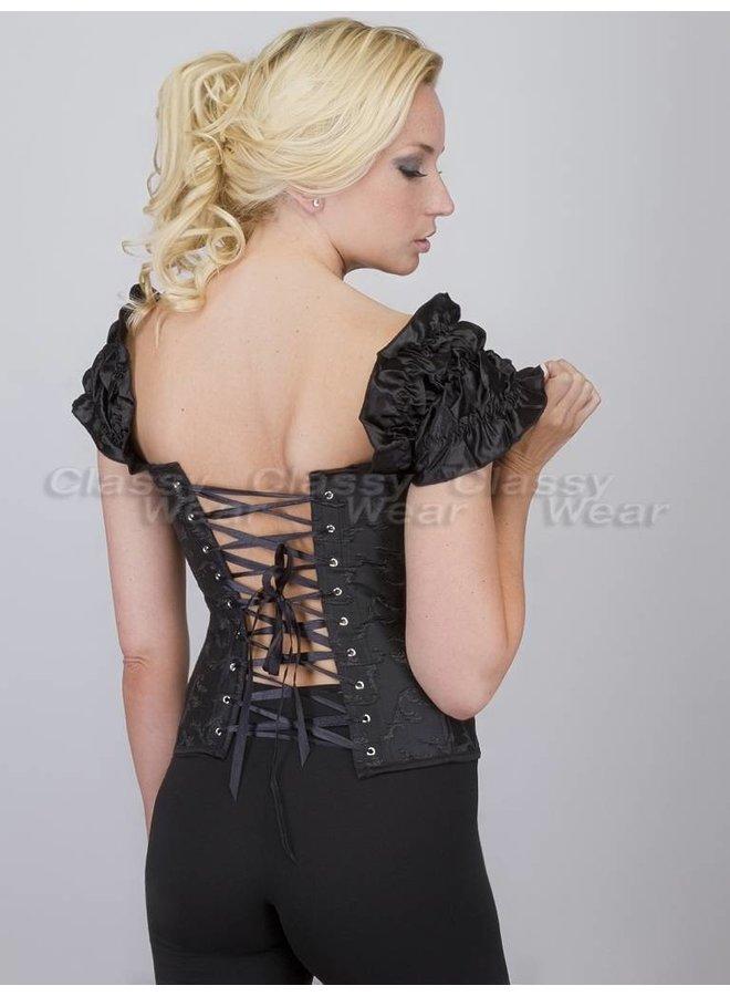 Zwart corset met motief en strikjes