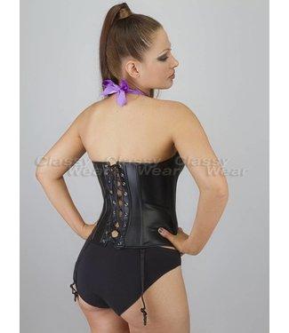 Corsetten Zwart leatherlook  corset met paarse strikken