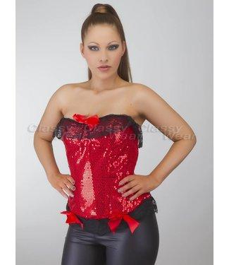 Rood glimmend corset met zwart kant