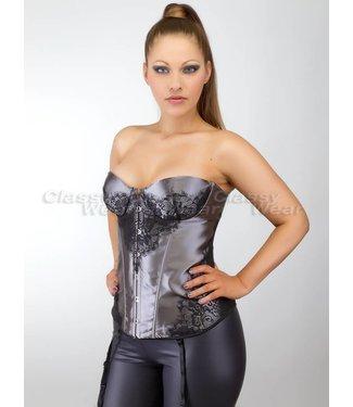 Grijs overbust corset met zwart detail