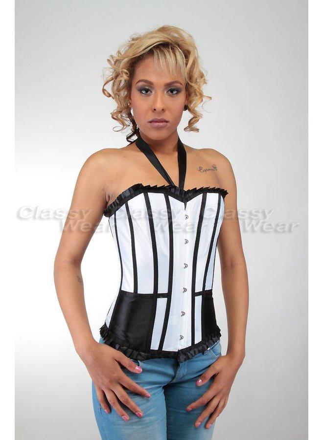 Wit corset met zwarte details