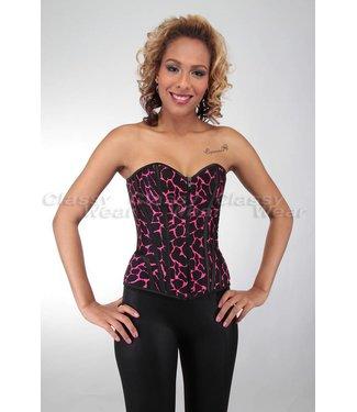 Sexy zwart corset met paarse print