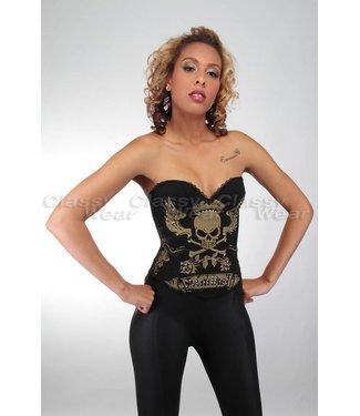 Zwart corset met stoere gouden print