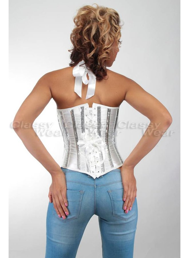 Overbust corset met glimmende details in wit