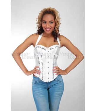 Overbust corset met glimmende details in wit