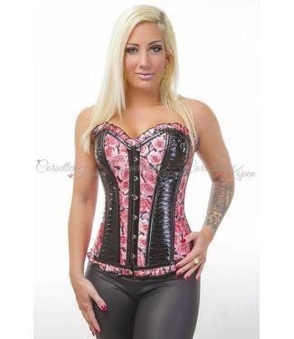 Leatherlook corset met rozen