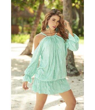 Zeeblauw jurkje met open schouders