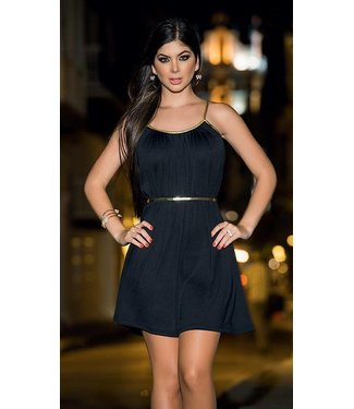 Zwart jurkje met gouden detail