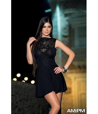 Zwart jurkje met licht doorschijnende bovenkant