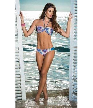 Blauwe bikini met print