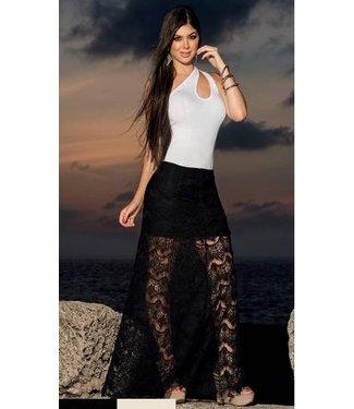 7156d13afb0cad Espiral Lingerie Lange zwarte rok met doorschijnende details