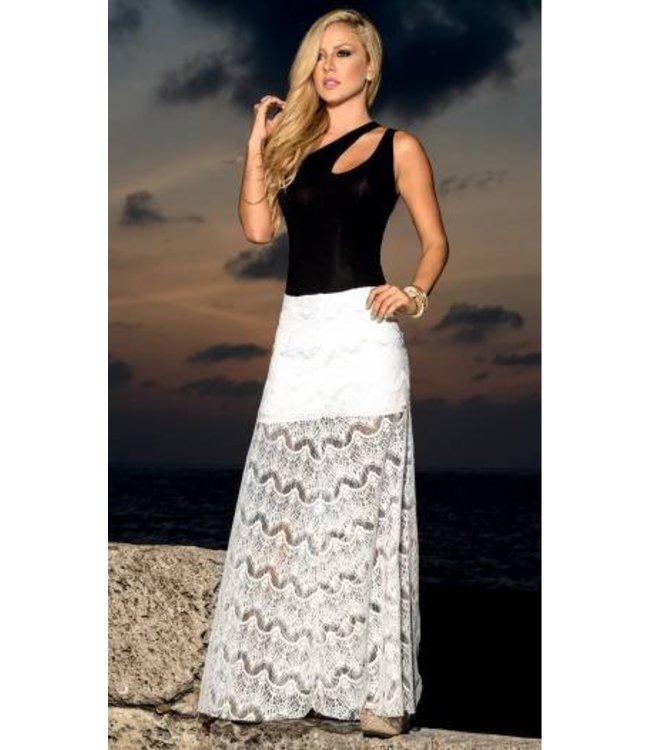 9bb9677354ae1b Espiral Lingerie Lange witte rok met doorschijnende details - ClassyWear