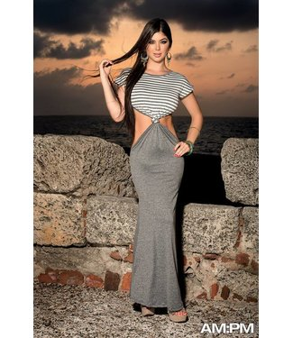 Lange grijze jurk met open delen