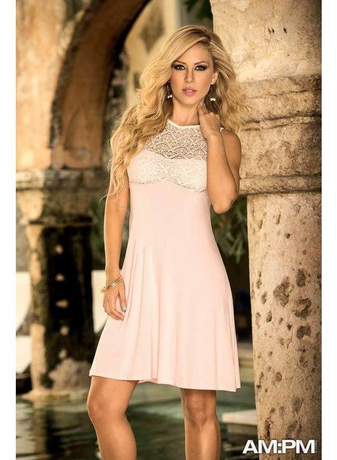 Beste Kort jurkje met kant roze - ClassyWear JE-82