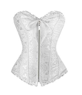 Overbust corset met rits in wit